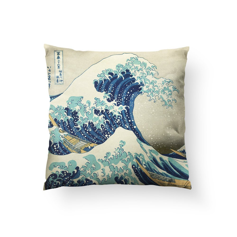 Great Wave Pillow, Nautical Home Decor, Japanese Art, Beach Theme Decor, Waves Throw Pillow, Unusual Gift, Ocean Art, Vintage Water Art