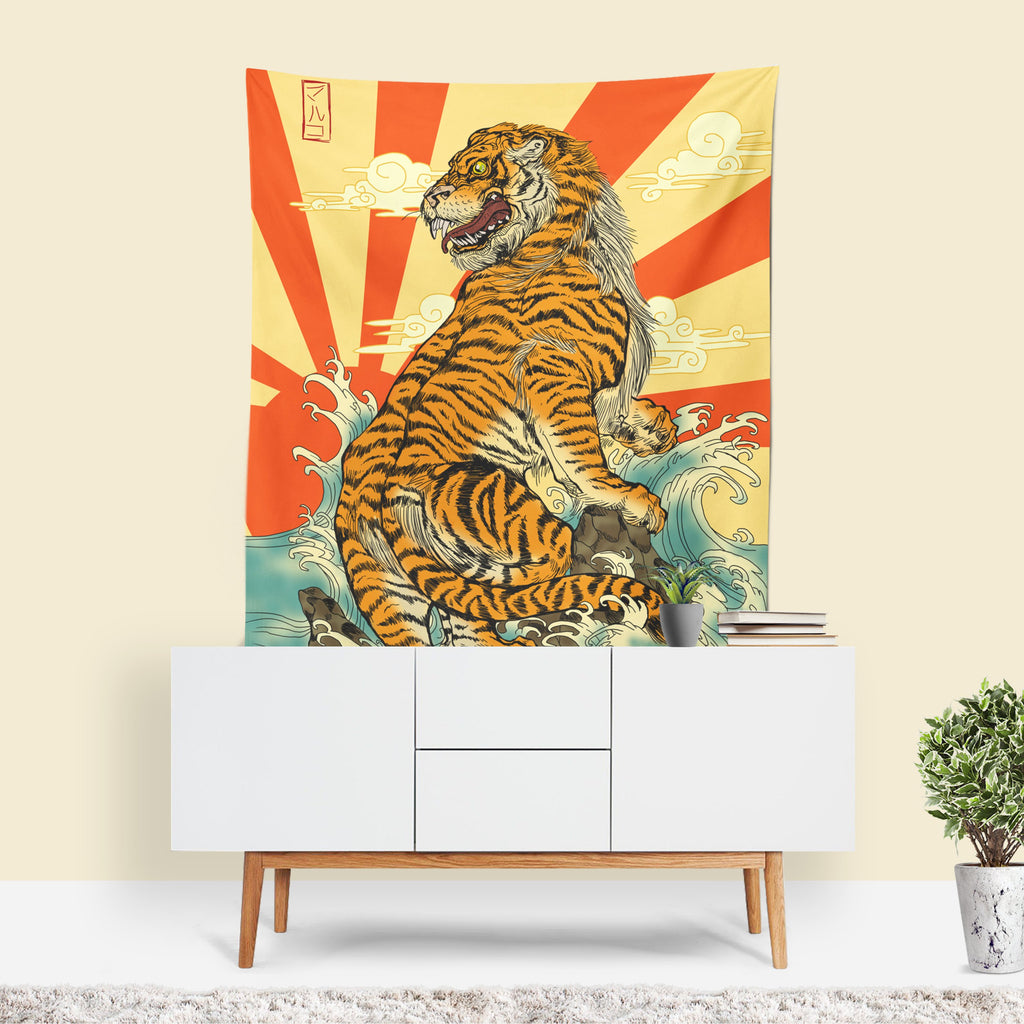 Tiger Tapestry, Japanese Decor, Tiger Wall Art, Retro Decor, Mancave Decor, Quirky Wall Art, Yellow Fabric, Japanese Mural, Tiger Art