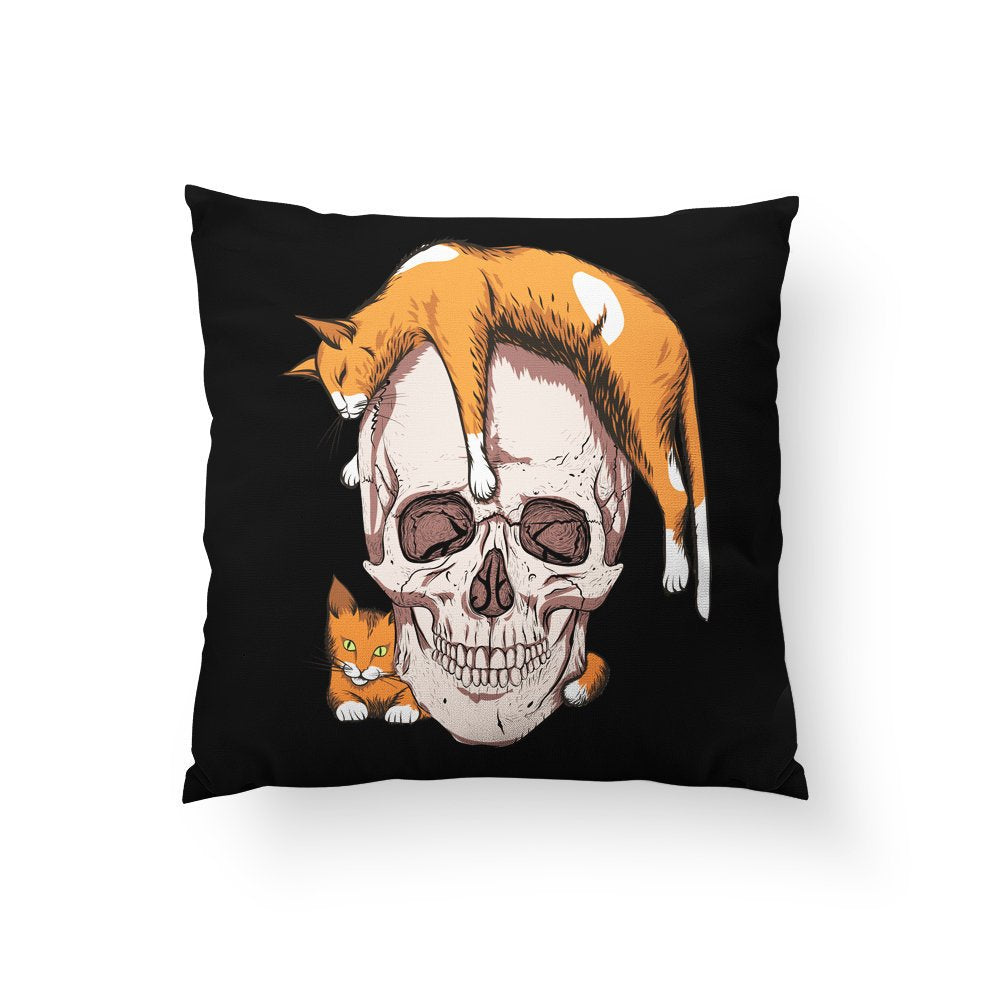 Halloween Pillows, Halloween Home Decor, Funny Pillow, Skull Pillow, Cat Pillow, Black Cushion with Insert, Scary Home Decor, Spooky Theme