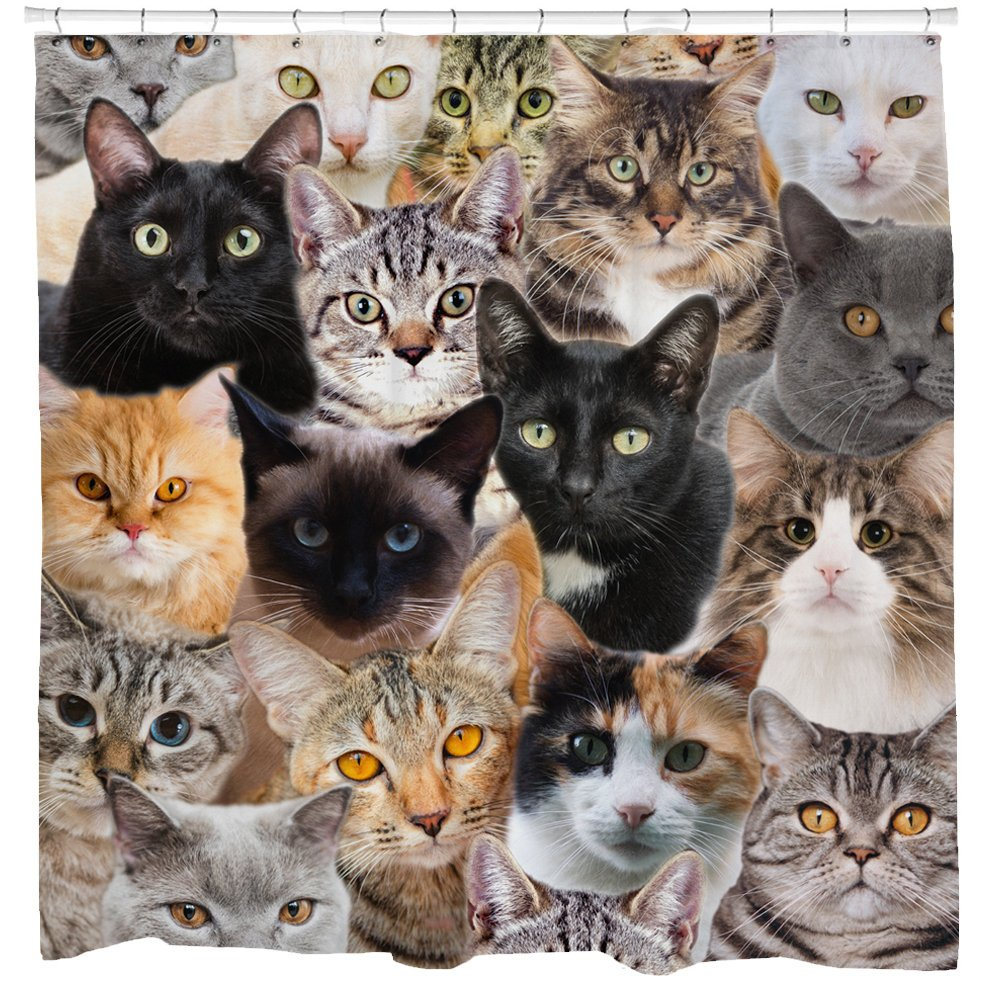 Funny Shower Curtain Animal Print Cat Decor Black Cats Tap To Expand