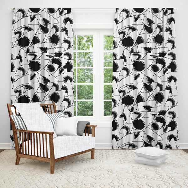 Shark Window Curtain, Shark Bathroom Curtain, Animal Print, Black & White, Black Out Fabric, Sheer Fabric, Single Panel Curtain