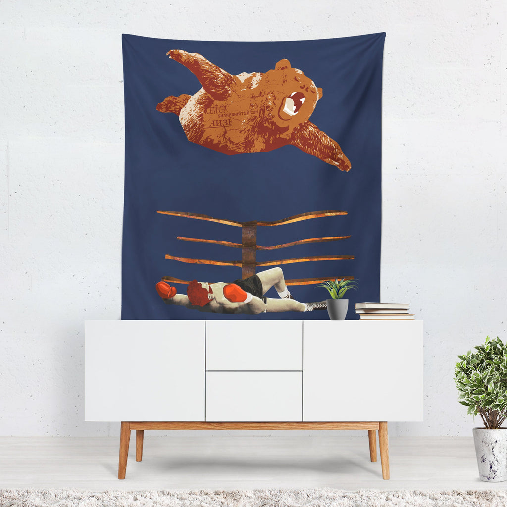 Cool Tapestry, Fun Bedroom Decor, Bear Art, Novelty Wall Art, Retro Decor, Unusual Gift for Him, Mancave Decor, Boxing, WWF,  Navy Fabric