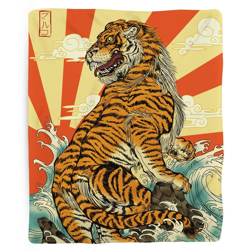 Tiger Blanket, Japanese Fleece Blanket, Tiger Art, Beach Theme, Japanese Art, Beach Theme, Rising Sun, Mancave Decor, Orange Red Fabric