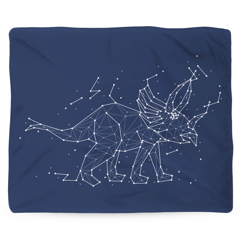 Dinosaur Blanket, Star Blanket, Warm Fleece Throw, Space Theme, Nature Home Decor, Astrology Gift, Constellation, Triceratops, Navy Fabric