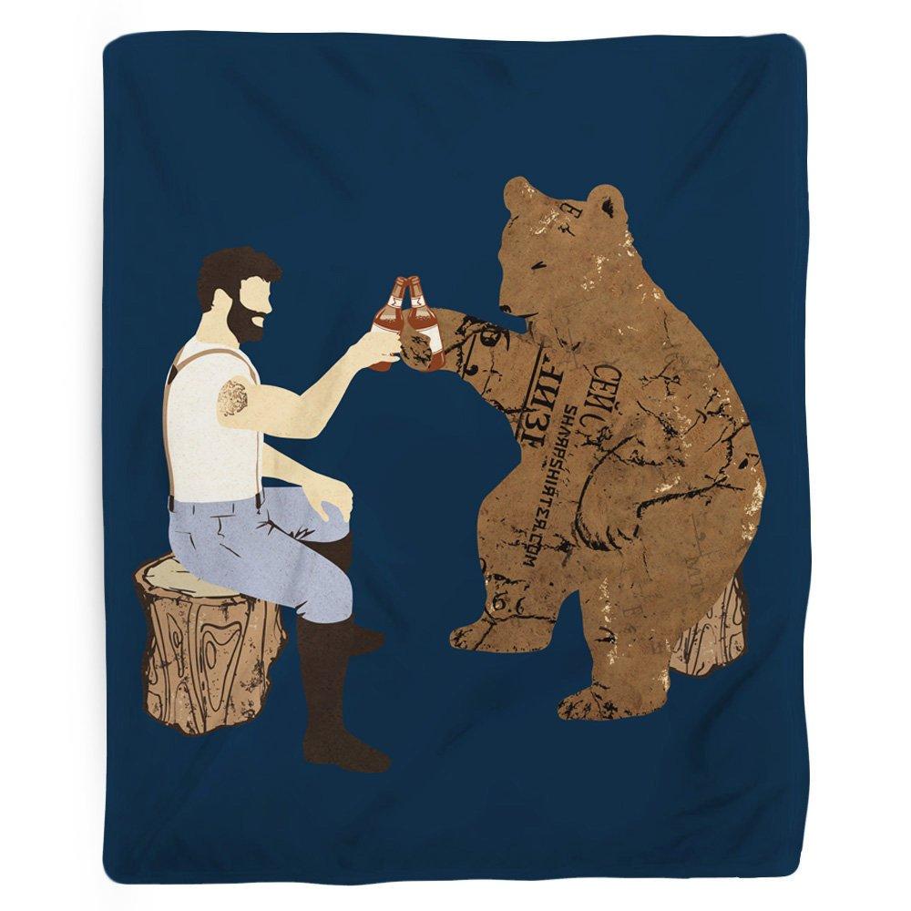 Bear Blanket, Funny Blanket, Super Soft, Fleece Blanket, Fun Bedroom Decor, Beer Theme, Gift for Dad, Woodland Decor, Blue Blanket