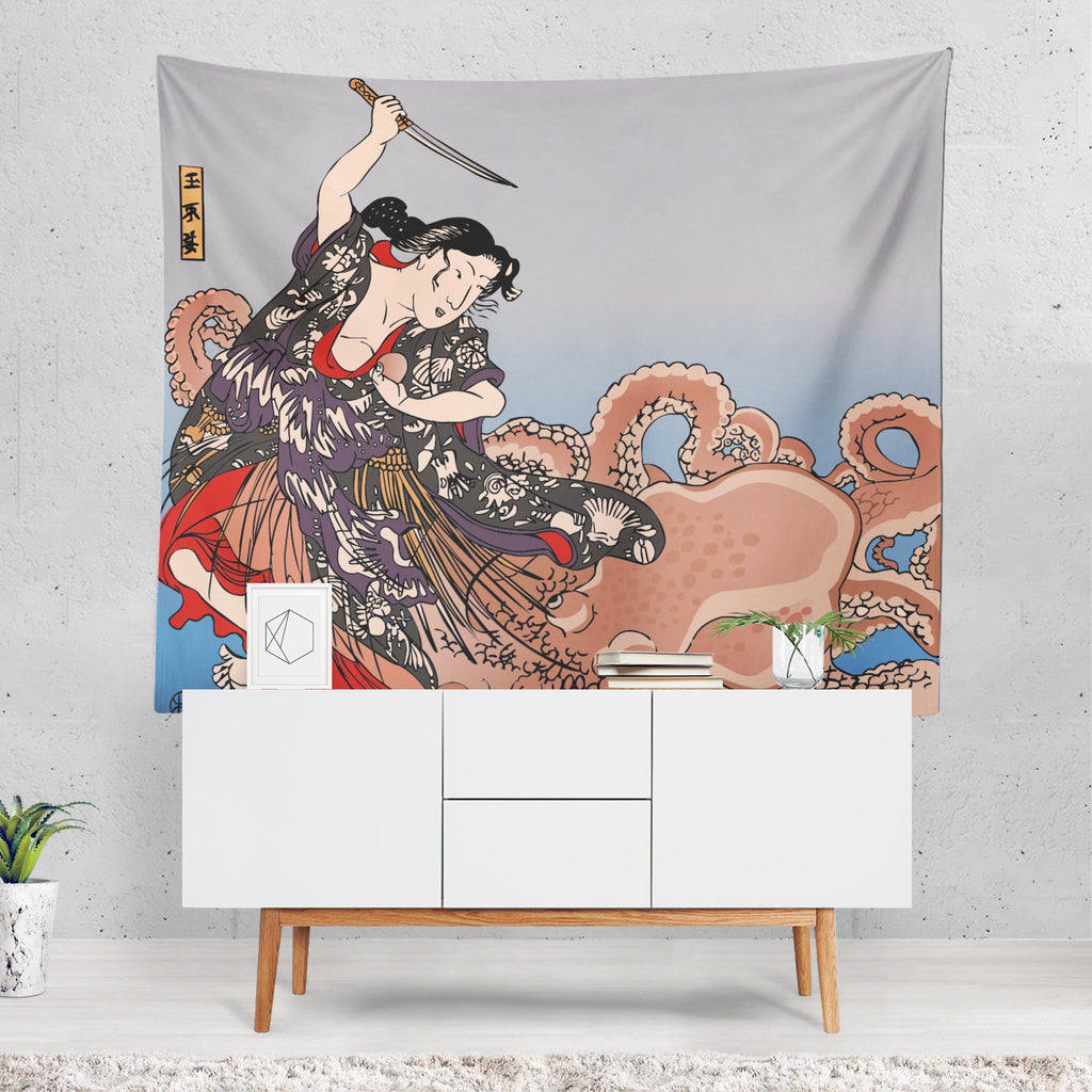 Japanese Tapestry, Octopus Wall Art, Vintage Mural, Japanese Decor, Retro Decor, Unusual Gift, Nautical Decor, Geisha, Kraken, Grey Fabric