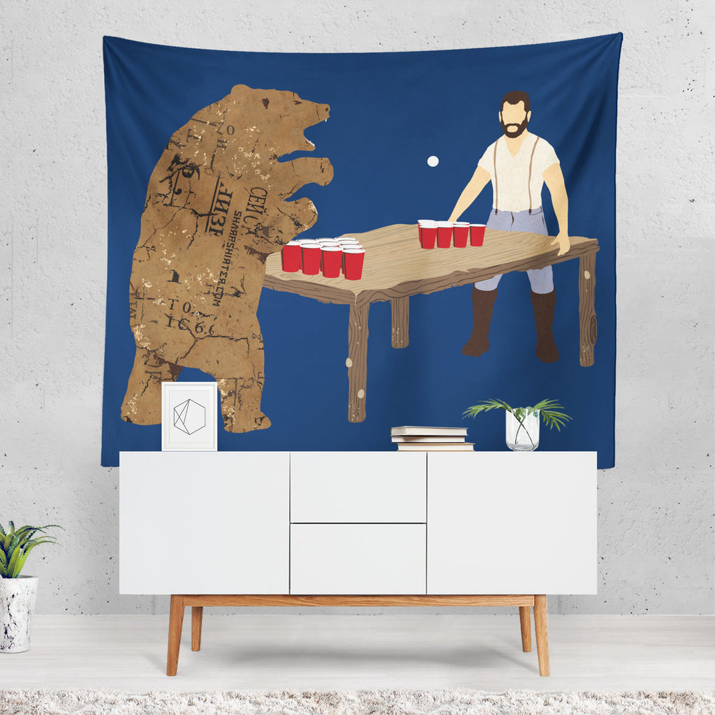 Bear Beer Tapestry, Bear Wall Sheet, Quirky Tapestry, Animals Wall Hanging, Unusual Wall Decor, Teen Room Decor, Drinking Theme, Beer Pong