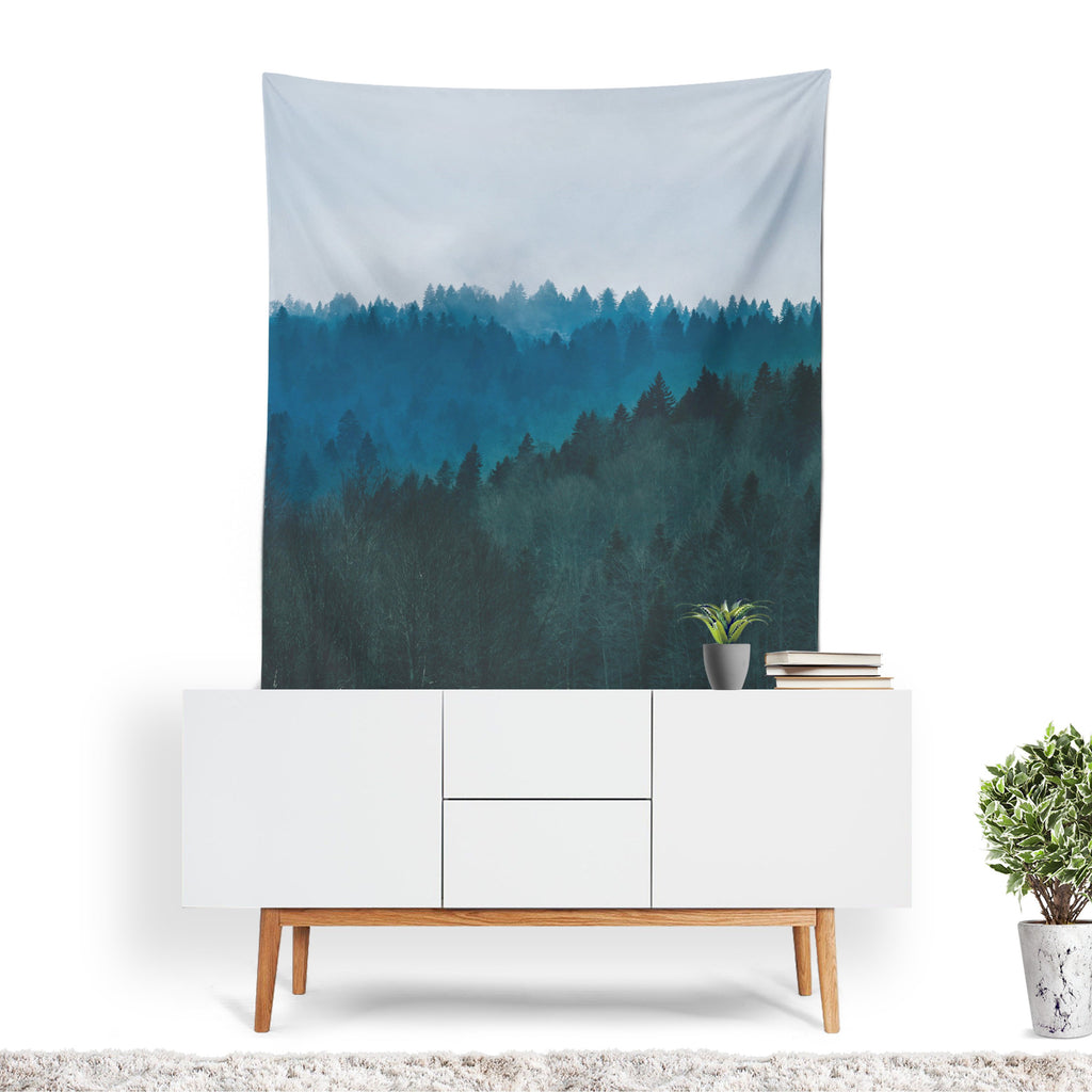 Forest Tapestry, Mountain Wall Art, Trees Wall Sheet, Woods Home Decor, Wilderness Wall Tapestry, Forest Wall Drapes, Tree Gifts, Mountains