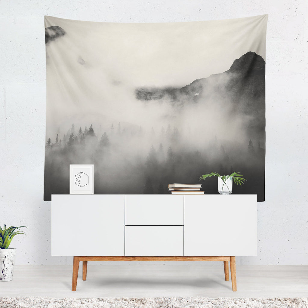 Mountain Tapestry, Forest Wall Art, Trees Wall Sheet, Woodland Decor, Wilderness Wall Tapestry, Forest Wall Drapes, Tree Gifts, Mountains