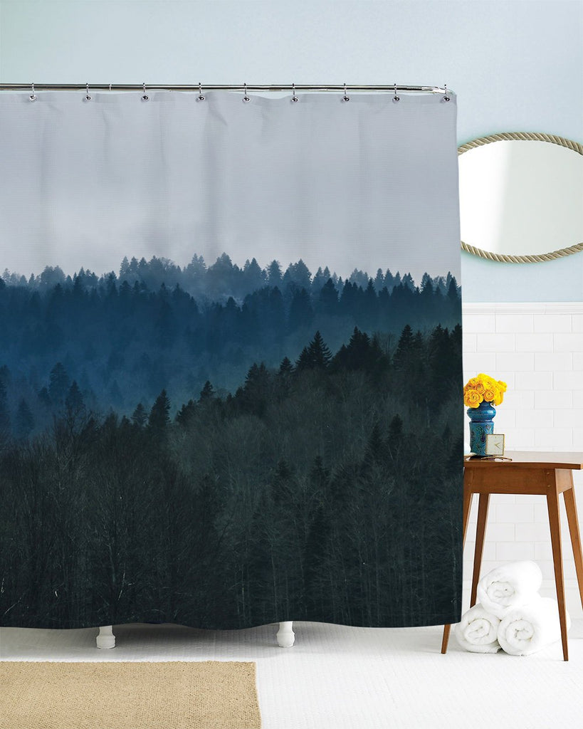 Trees Shower Curtain Mountain Scenic