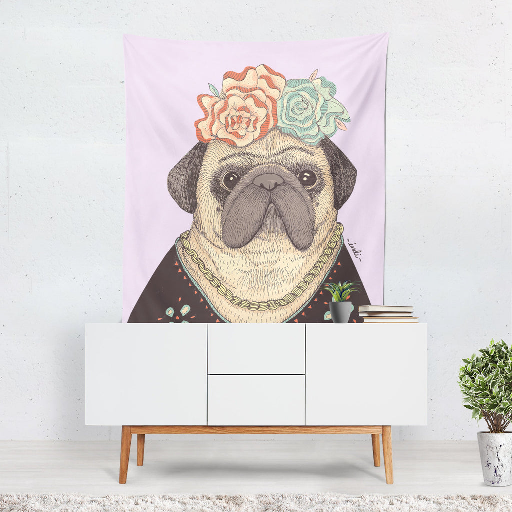 Frida Tapestry, Dog Wall Art, Mexican Home Decor, Floral Art, Boho Decor, Frida Kahlo, Pug Art, Purple Fabric, Gift for Dog Lover