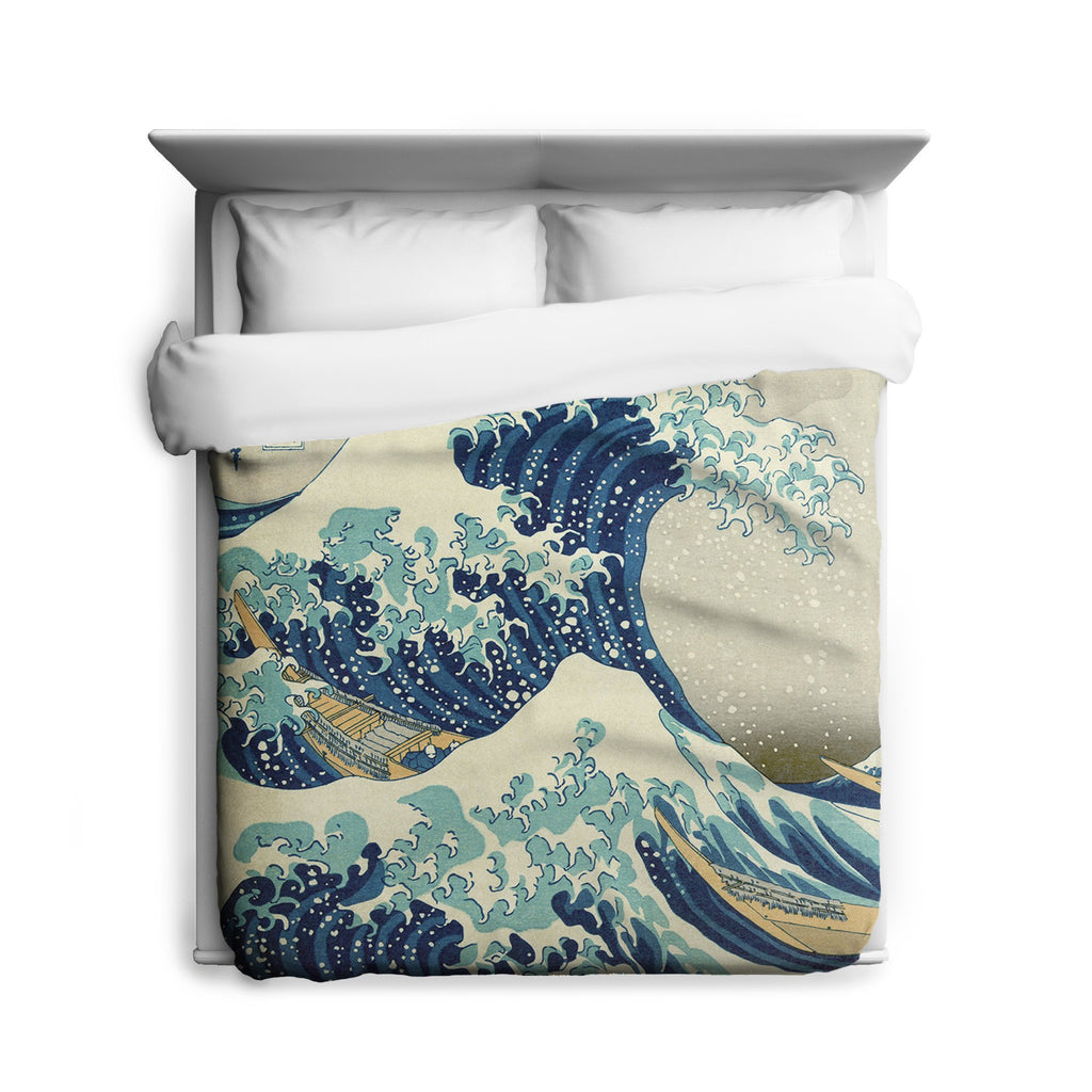 Great Wave Duvet, Nautical Home Decor, Japanese Ocean Art, Beach Theme Decor, Sea Waves, Nautical Bedding, Classic Art, Japanese Decor