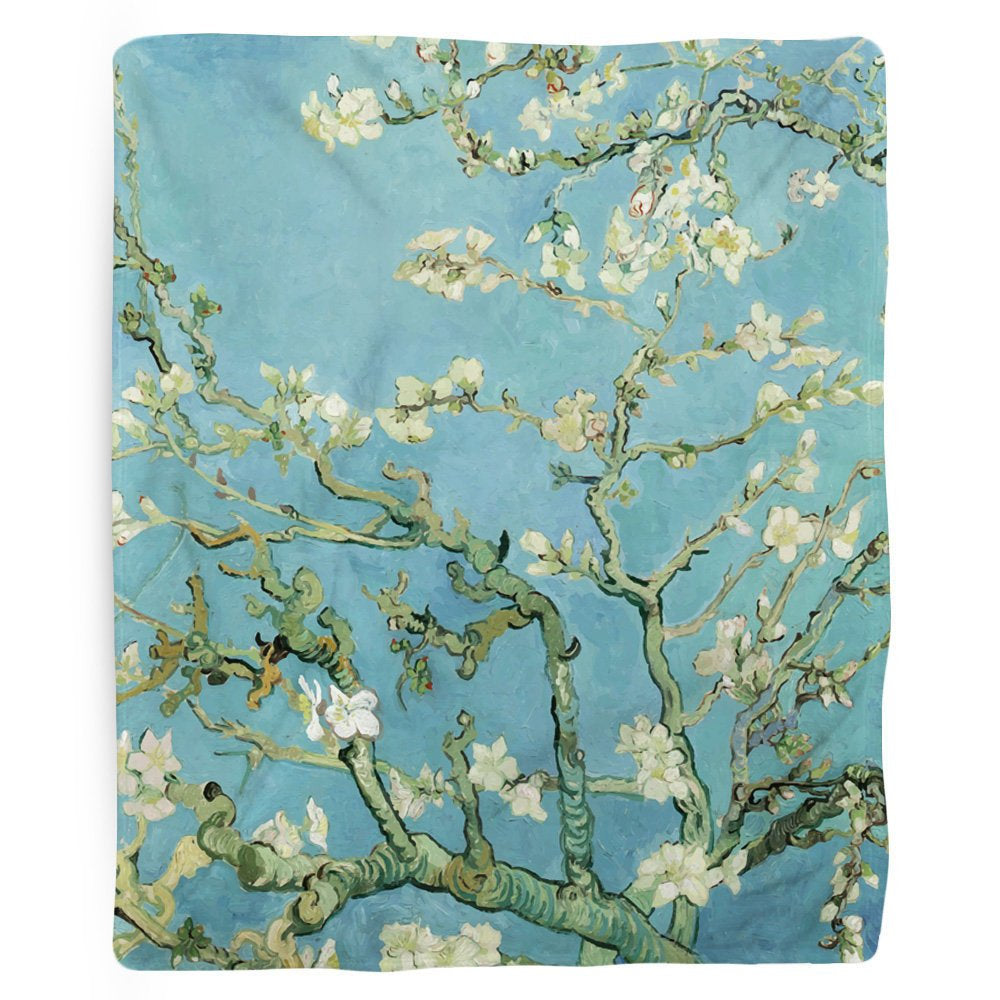 Classic Art Blanket, Flower Blanket, Fleece Throw, Tree Blanket, Van Gogh, Almond Blossoms, Hippie Decor, Flower Home Decor, Blue Fabric