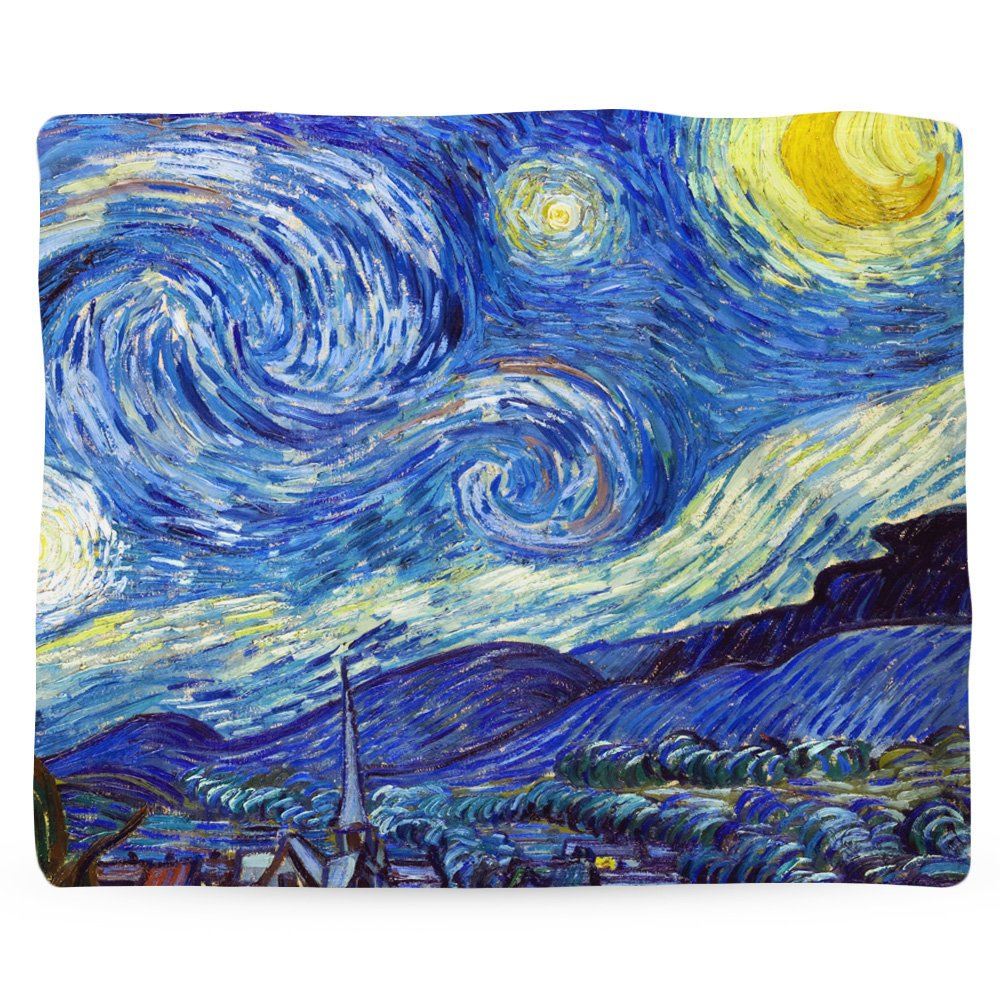 Classic Art Blanket, Famous Art, Fleece Blanket, Fleece Throw, Moon Blanket, Van Gogh, Starry Night, Impressionist Art, Blue Fabric