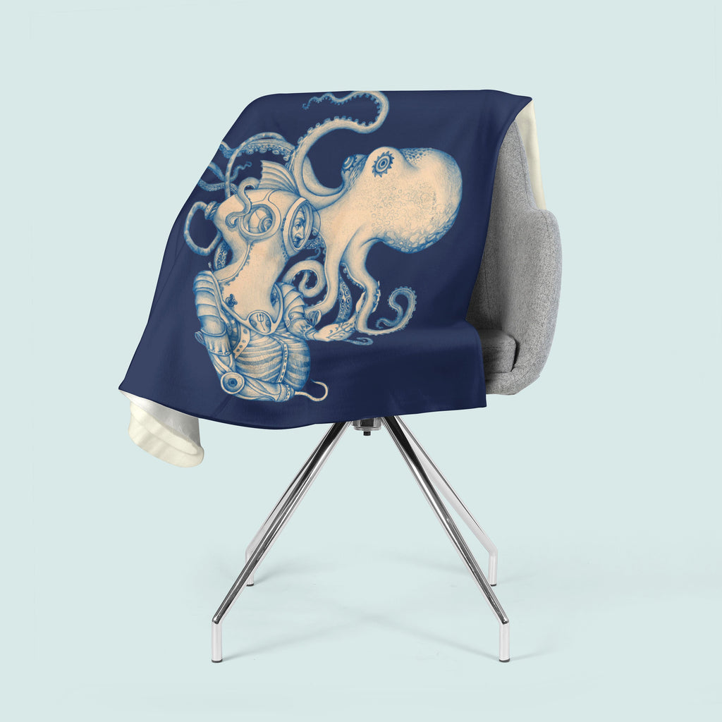 Octopus Blanket, Steampunk Decor, Octopus Fleece, Pirate Theme, Psychedelic Blanket, Nautical Decor, Beach Theme, Kraken Art, Blue Blanket