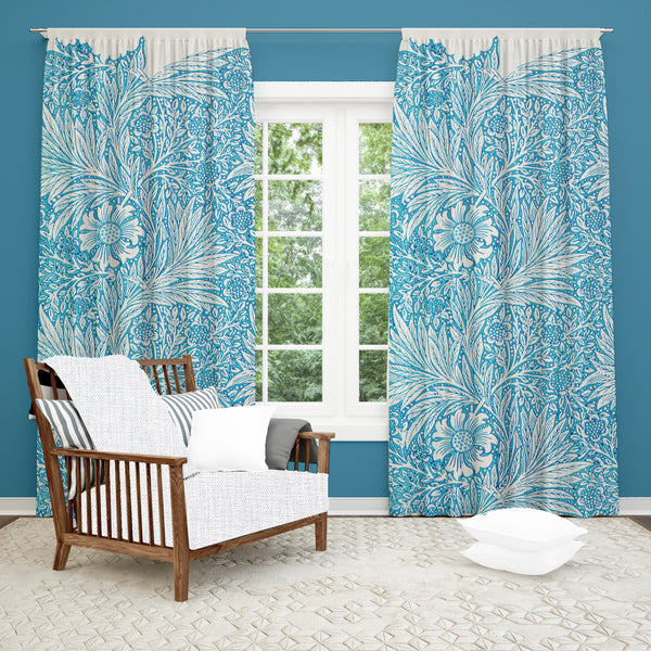 Blue Floral Window Curtain