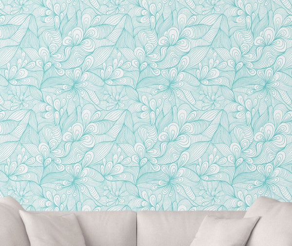 Blue Folk Floral Wallpaper