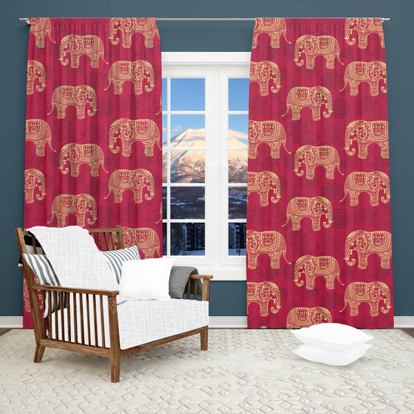 Boho Elephant Window Curtain