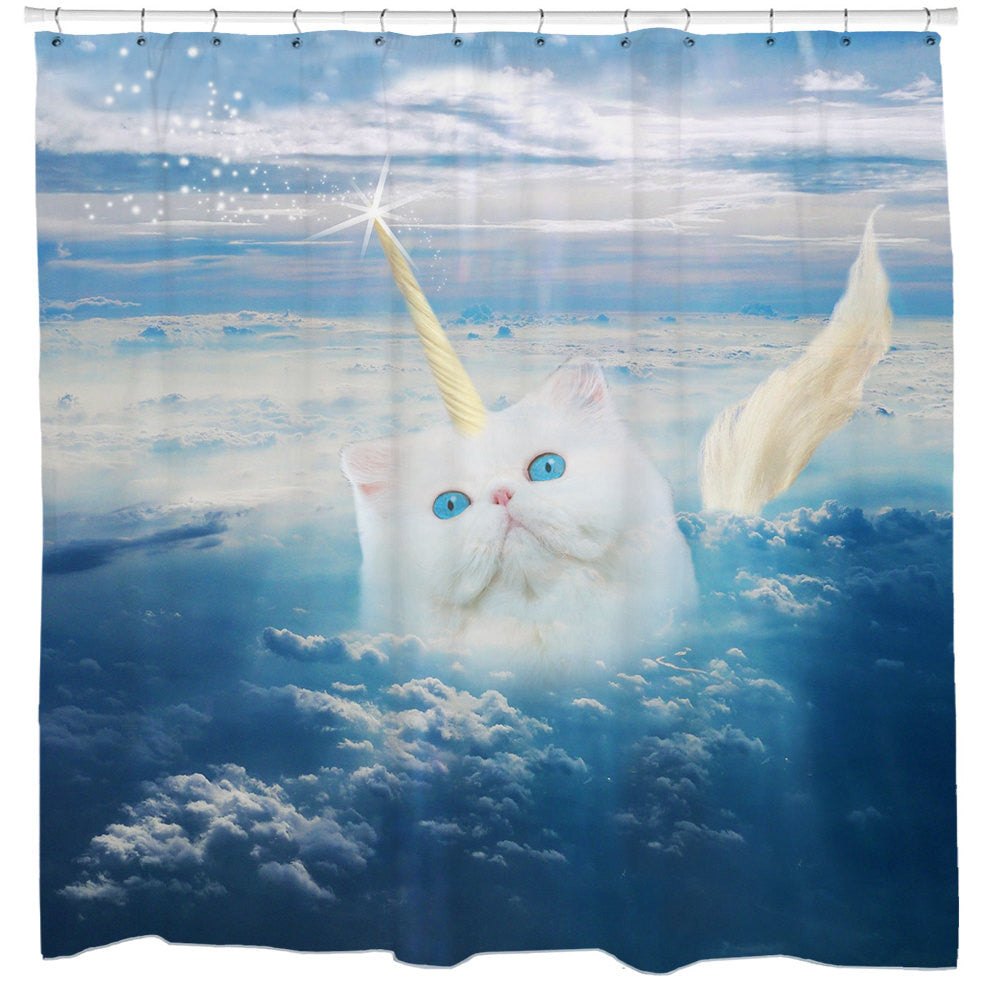 Caticorn Cat Shower Curtain
