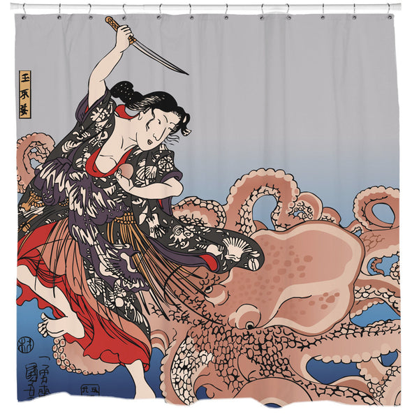 Battling the Octopus Shower Curtain