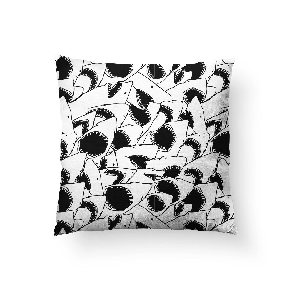 Shark Pillow, Black White Throw Pillow, Nautical Home Decor, Shark Week, Jaws Pillow, Beach Theme Decor, Cool Pillow, Shark Theme Decor
