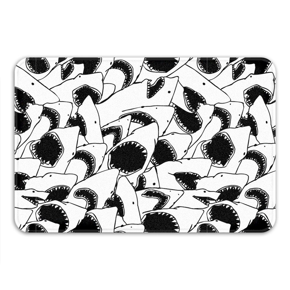 Black White Bath Mat, Shark Shower Mat, Jaws Bath Rug, Fish Memory Foam Bath Mat, Funny Shark Bathroom Rug, Bath Mat Non Slip