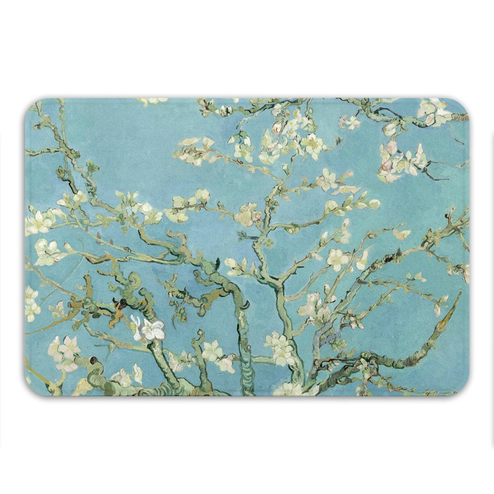 Almond Blossoms, Van Gogh, Memory Foam Bath Mat - Printed in USA