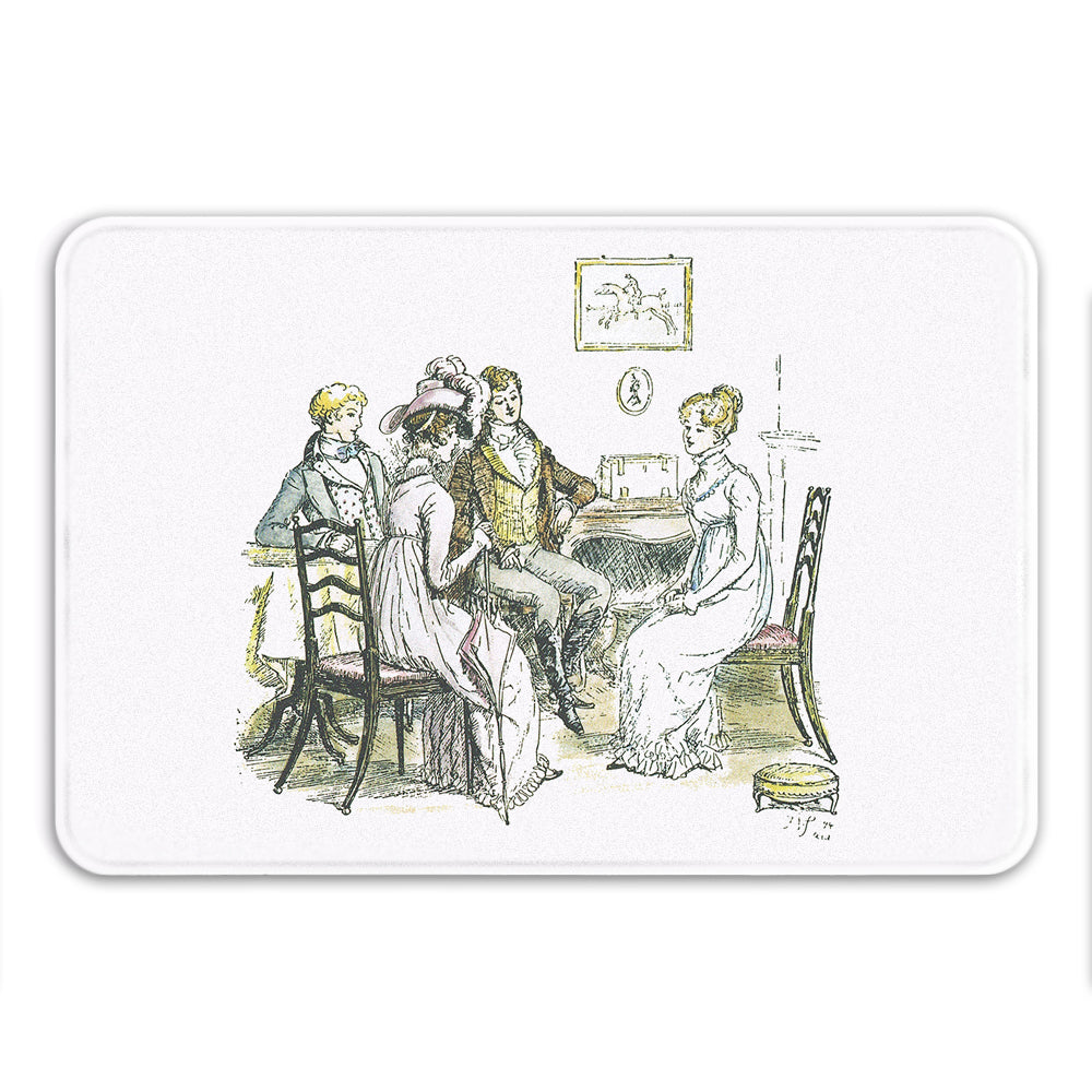 Pride and Prejudice Illustrated Bath Mat