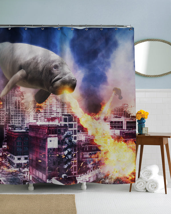 When Manatees Attack Shower Curtain