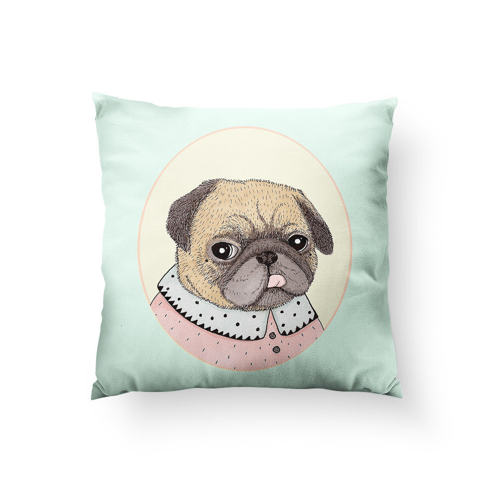 Pug Portrait Throw Pillow