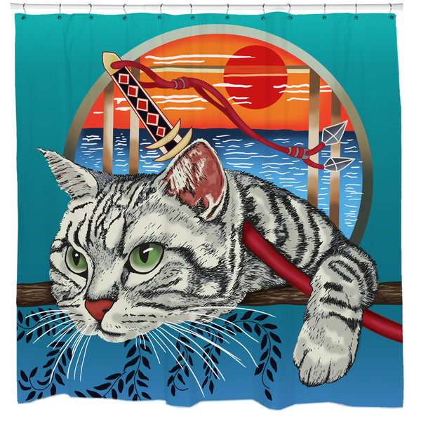 Samurai Cat Shower Curtain