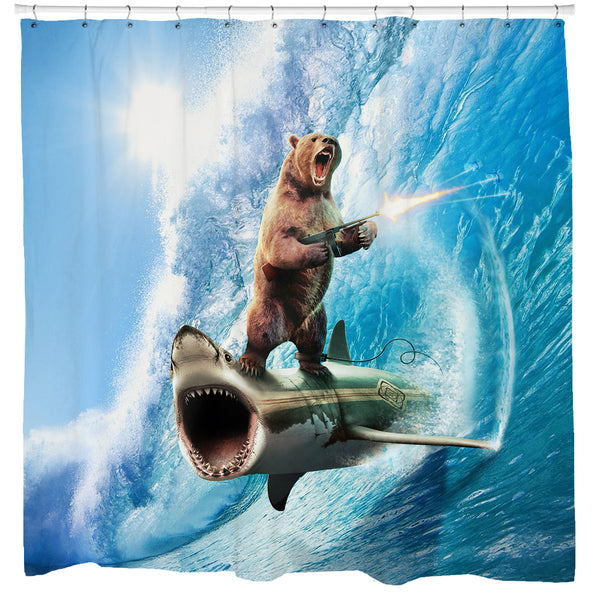 Shark Bear Shower Curtain