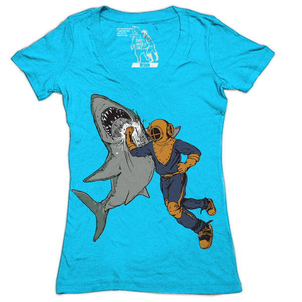 Shark Punch Women's Graphic Tee Deep V-Neck