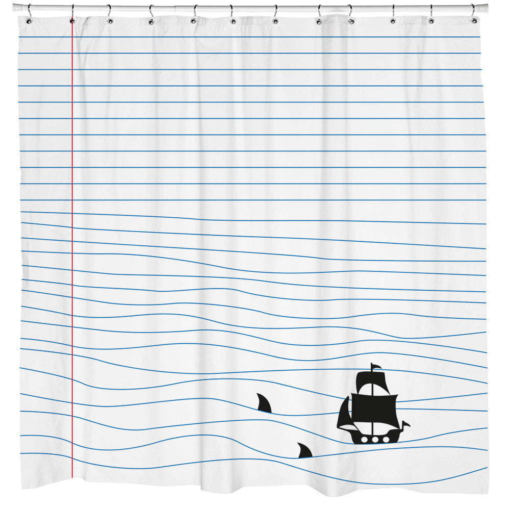 Notepad Sharks Shower Curtain