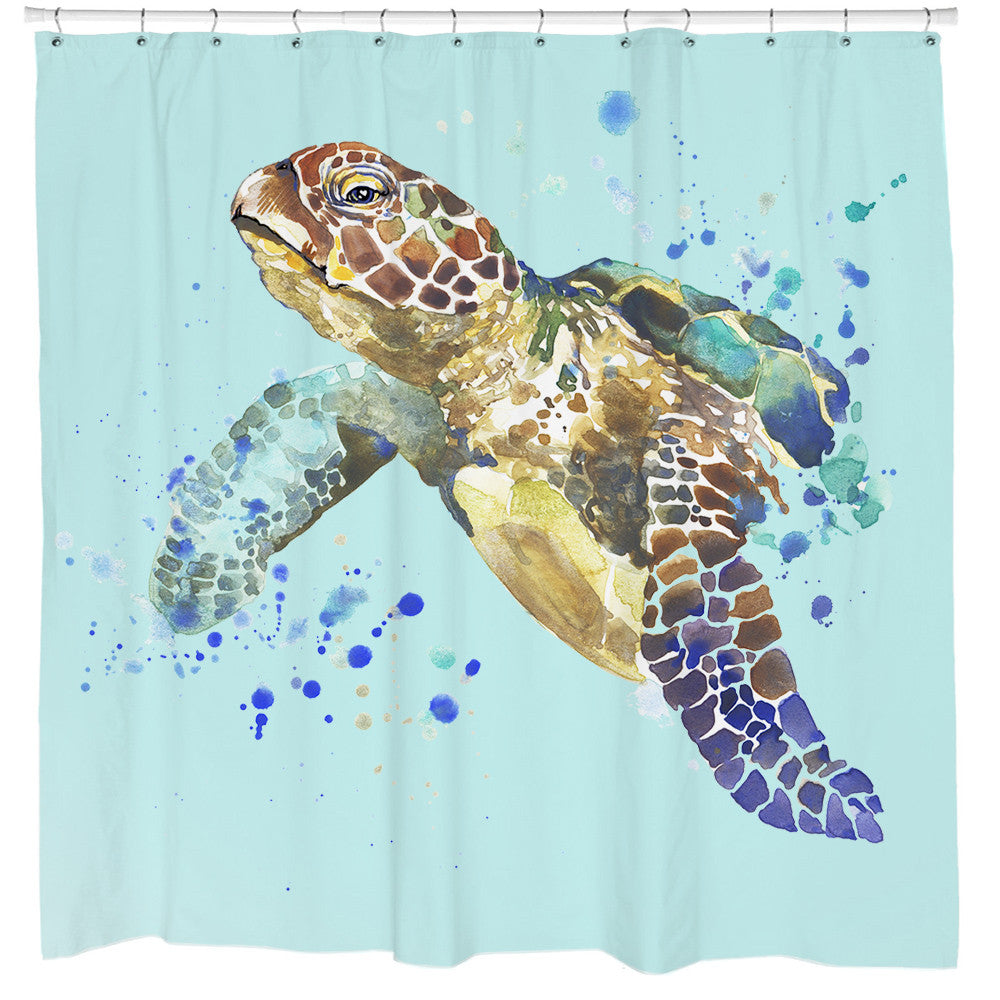 Attractive Turtle Splash Shower Curtain