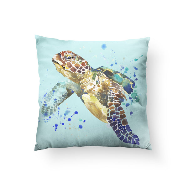 Turtle Splash Throw Pillow