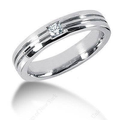 0.15ct Round Diamond Men's Wedding Ring 14kt White Gold JEWELFORME BLUE