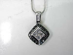 1.18ct Princess Diamond Pendant Necklace JEWELFORME BLUE 18kt white Gold