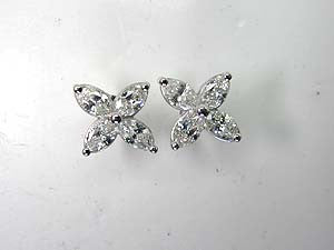 2.10ct Marquise Diamond Earrings 18kt white Gold Birthday Anniversary Gift JEWELFORME BLUE Apple