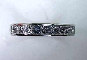 0.85ct Princess diamond Eternity Wedding Ring Band Platinum JEWELFORME BLUE