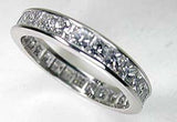 1.88ct Princess diamond Eternity Wedding Ring Band Platinum  JEWELFORME BLUE