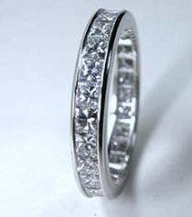 2.05ct Princess diamond Eternity Weddiing Ring Band 18kt JEWELFORME BLUE