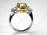4.11ct Yellow Sapphire Diamond Engagement Ring18kt White Gold JEWELFORME BLUE