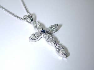 1.24ct Marquise Diamond Cross Pendant 18kt JEWELFORME BLUE