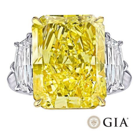 18.56ct Radiant Fancy Yellow GIA certified Diamond Ring 18kt JEWELFORME BLUE