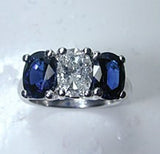 3.32ct Oval Diamond Blue Sapphire Engagement Ring 18kt White Gold  JEWELFORME BLUE