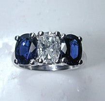3.01ct Oval Diamond Blue Sapphire Engagement Ring 18kt White Gold