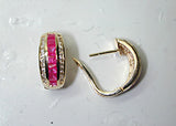 2.10ct Ruby and Diamond Earrings hoops 14kt yellow gold