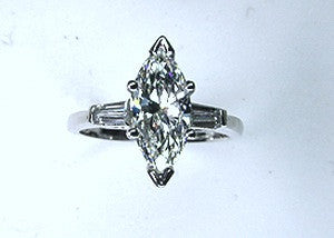 2.82ct G-VS1 Marquise Diamond Engagement Ring Platinum GIA certified JEWELFORME BLUE