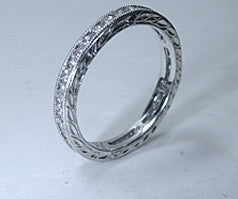 0.77ct Eternity Ring Round Diamonds Platinum JEWELFORME BLUE Art deco